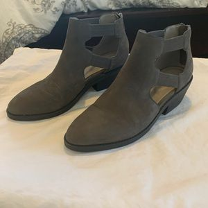 Dark gray leather bootie from Eileen Fisher.